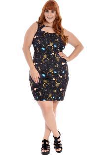 Vestido Plus Size Curto Zuya Luas I - Azul - Feminino - Dafiti