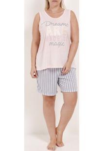 Pijama Curto Plus Size Feminino Rosa/Azul