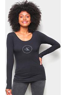 Blusa Calvin Klein Slim Logo Manga Longa Feminina - Feminino