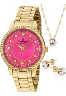 d7502add499f Relógio Feminino Kit Champion Rosa Dourado Semijoia + Cn29829j -  Feminino-Dourado