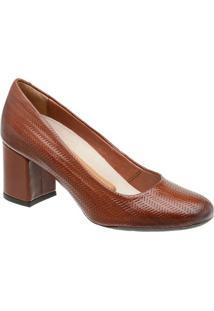 Sapato Tradicional Em Couro- Marrom- Salto: 6,3Cmmr. Cat
