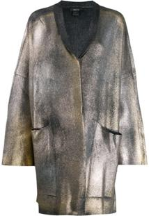 Avant Toi Coated Metallic Cardigan - Cinza