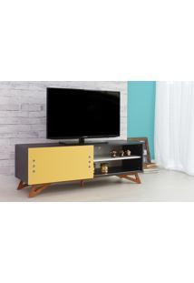 Rack De Tv Preto Moderno Vintage Retrô Com Porta De Correr Amarela Freddie - 140X43,6X48,5 Cm
