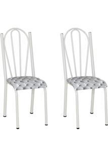 Conjunto 2 Cadeiras Mnemã³Sine Branco E Estampa Capitonãª