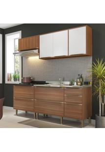 Cozinha Compacta 7 Portas 4 Gavetas 5459 Nogueira/Branco - Multimóveis