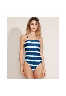 Maiô Body Feminino Estampado Tie Dye Com Bojo E Proteção Uv50+ Azul Marinho