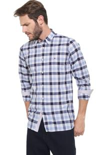 Camisa Tommy Hilfiger Slim Grid Xadrez Azul/Branca