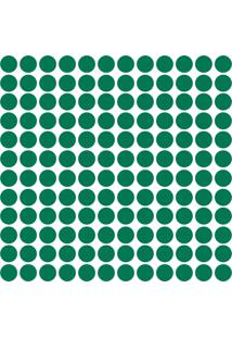 Adesivo De Parede Bolinhas Verde Escuro 144Un