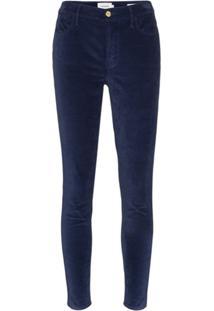 Frame Calça Jeans Skinny Le High De Veludo - Azul