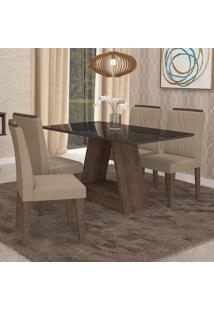 Conjunto De Mesa De Jantar Retangular Alana Com Vidro E 4 Cadeiras Nicole Suede Caramelo E Preto