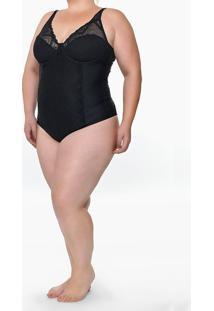 Body Feminino De Alcinha Renda Plus Size Preto Calvin Klein - 1Xl