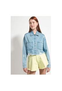Jaqueta Cropped Jeans Lisa Com Bolsos E Puídos | Blue Steel | Azul | G