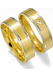 Aliança De Casamento Ouro E Filetes Laterais Em Ouro Branco - As0558 + As0559 Casa Das Alianças