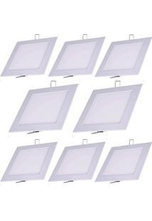 Luminária Painel Led Plafon De Embutir Quadrado 9W Branco Quente Kit 10