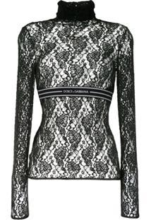 Dolce & Gabbana Blusa De Renda Com Logo E Listra - Preto