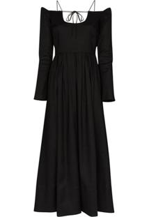 By Any Other Name Vestido Longo Ombro A Ombro Pastoral - Preto