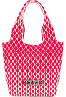 Kenzo Bolsa Tote Com Estampa Geométrica E Logo - Vermelho