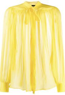 Rochas Blusa Translúcida Com Amarração Frontal - Amarelo