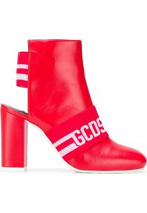 Gcds Cut Out Ankle Boots - Vermelho