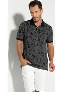 Camisa Polo Seeder Piquet Binado Masculina - Masculino-Cinza+Preto