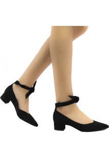 Sapato Zariff Shoes Scarpin Lace Up Em Suede Preto