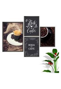 Kit Conjunto 4 Quadro Oppen House S Frases O Dia Começa Com Café Lojas Cafeteria Xícaras Gráos Moldura Preta Decorativo Interiores Sem Vidro
