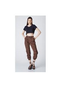 Calça Jeans Express Jogger Xadrez Marrom