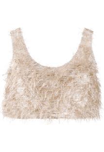 Nanushka Blusa Cropped Com Bordado - Neutro