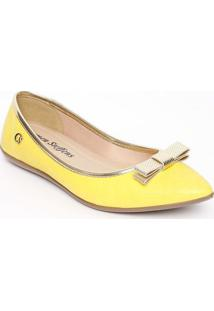 Sapatilha Em Couro- Amarela & Douradacarmen Steffens