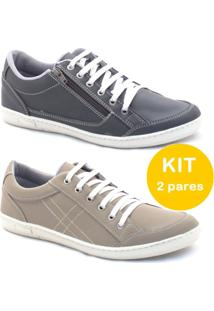 Kit Sapatenis Dexshoes Com Ziper - Masculino-Preto+Bege
