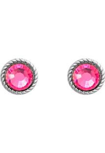 Brinco Prata Mil Envelhecida Rosa Com Pedra Chaton Preta Prata - Tricae