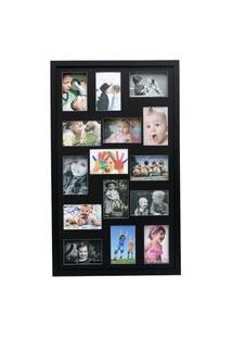 Painel Quadro Multifotos 15 Fotos 10X15 C/ Profundidade Moldura Caixa Preta