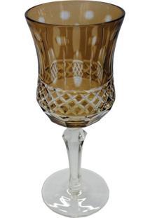 Conjunto De Taças Para Vinho Em Vidro Cristalino Lapidado 6 Peças Ambar
