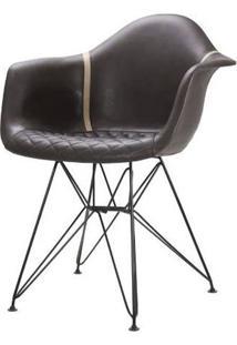 Cadeira Demi Courino Chocolate Base Preto 81Cm - 62849 - Sun House