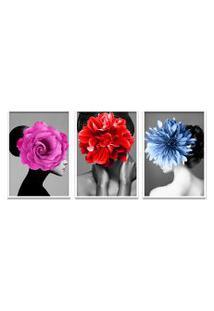 Quadro 60X120Cm Kaira Mulher Com Flores Moldura Branca Com Vidro