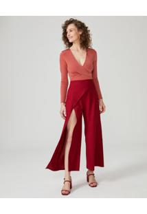 Calça Pantalona Assimétrica Com Fenda