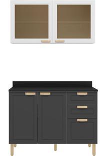Cozinha Modulada 3 Peças Com Tampo E Nevada 5924Tp-Multimóveis - Branco Premium / Grafite Premium