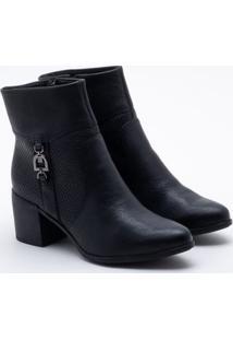 Ankle Boot Bottero Couro Preta 36