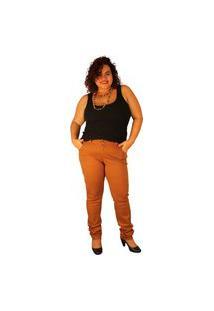 Calça Skinny Strech True E-Motion Cor:Caramelo Plus Size Multicolorido