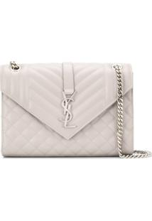Saint Laurent Envelope Medium Shoulder Bag - Cinza