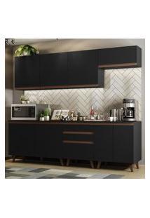 Cozinha Completa Madesa Reims 250001 Com Armário E Balcáo - Preto Preto