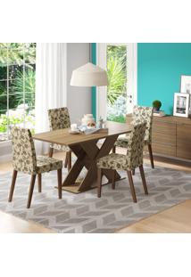 Conjunto De Mesa Com 4 Cadeiras Vermont Rústico E Floral