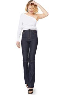 Calça Jeans Recorte Joelho E Fenda