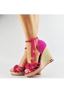 Sandália Antônia Domingues Anabela De Amarrar Salto Corda - Feminino-Pink