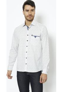 Camisa Slim Fit Com Bolso & Bordado- Branca & Azul Marinvip Reserva
