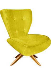 Poltrona Decorativa Tathy Suede Amarelo Com Base Giratória De Madeira - D'Rossi