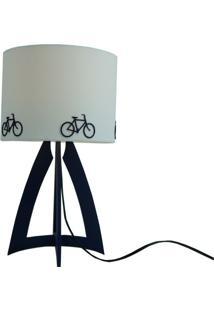 Abajur Madeira E Cúpula Bicicletas Azul Marinho E Branco Crie Casa