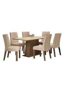 Conjunto Sala De Jantar Madesa Luciana Mesa Tampo De Madeira Com 6 Cadeiras Rustic/Crema/Imperial Cor:Rustic/Crema/Imperial
