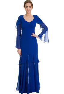 Vestido Em Musseline Mangas Longas Boca De Sino Azul