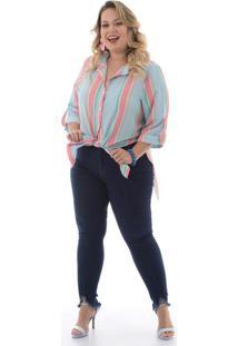 Maxi Camisa Listras Plus Size
